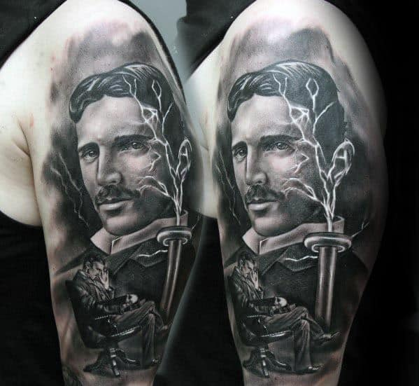Nikola Tesla Mens Tattoo Designs