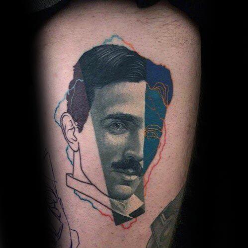Nikola Tesla Tattoo Design On Man