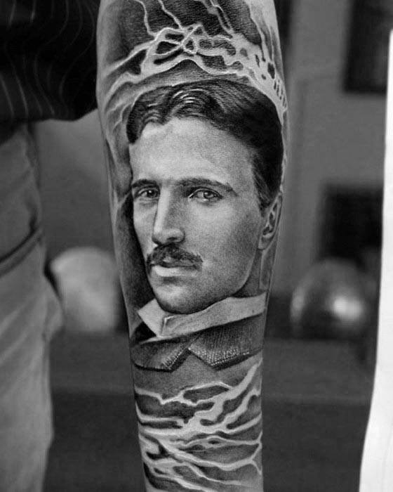 Nikola Tesla Tattoo On Men