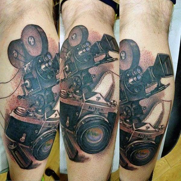 Nikon High Tech Camera Tattoo Male Forearms