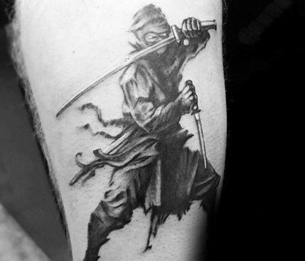 Ninja Fighting With Swords Tattoo For Men On Arm