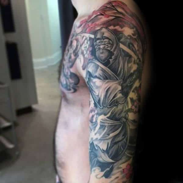 Ninja Themed Mens Full Sleeve Tattoos