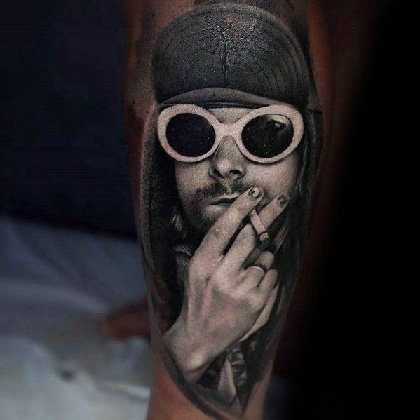 Nirvana 3d Kurt Cobain Tattoos Men