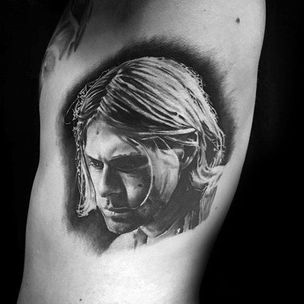 Nirvana Kurt Cobain Rib Cage Side Portrait Tattoo Ideas For Gentlemen