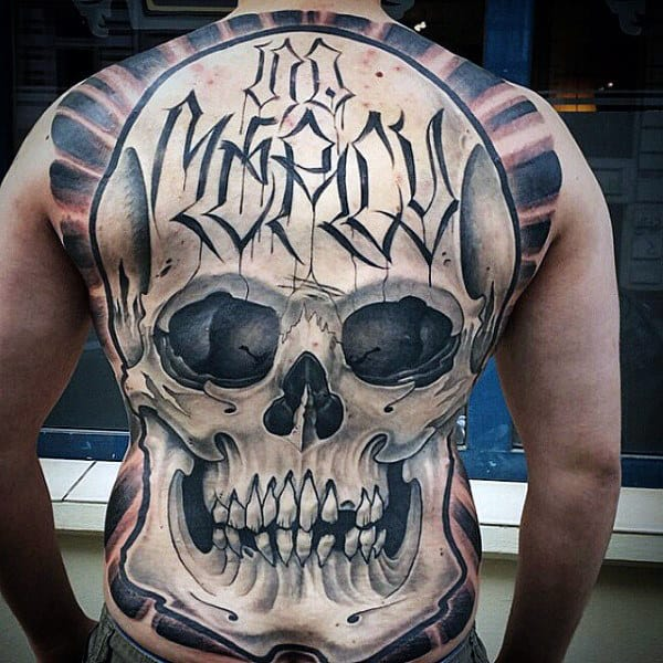 No Mercy Crazy Full Back Tattoo Skull Design On Gentleman
