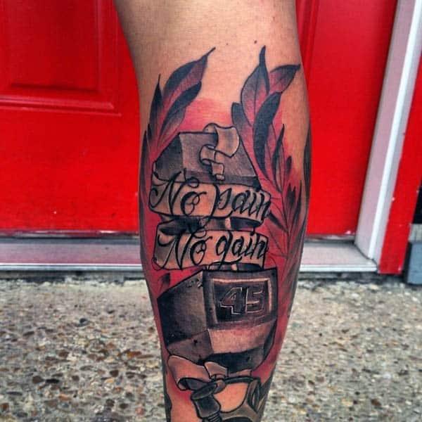 Tatuaje de pierna masculina sin dolor sin ganancia