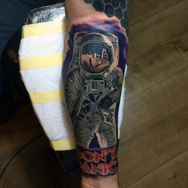 No Panic Brave Astronaut Tattoo Mens Forearms