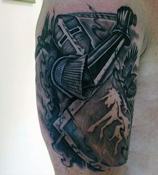 Noble Knight Tattoos For Men On Bicep