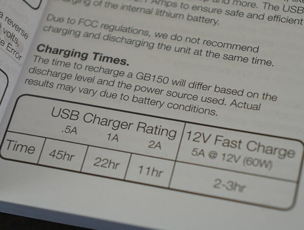 Noco Gb150 Boost Pro Jump Starter Charging Times Chart