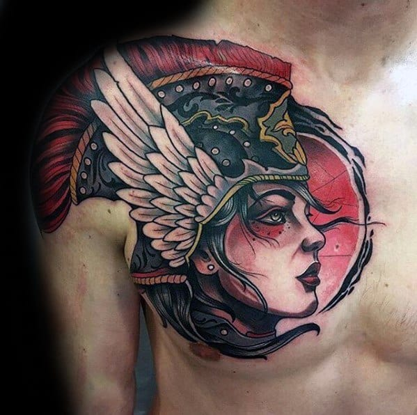 Nordic Valkyrie Tattoo On Men Neo Traditional Design On Chest