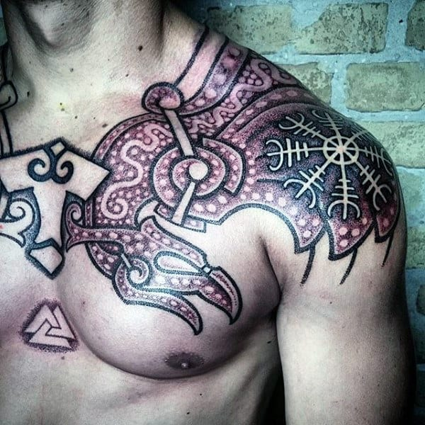 Norse Mens Mjolnir Tribal Tattoo Design On Chest