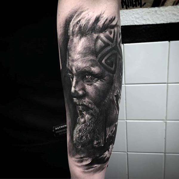 Norse Mens Portrait Shaded Nice Forearm Sleeve Tattoo