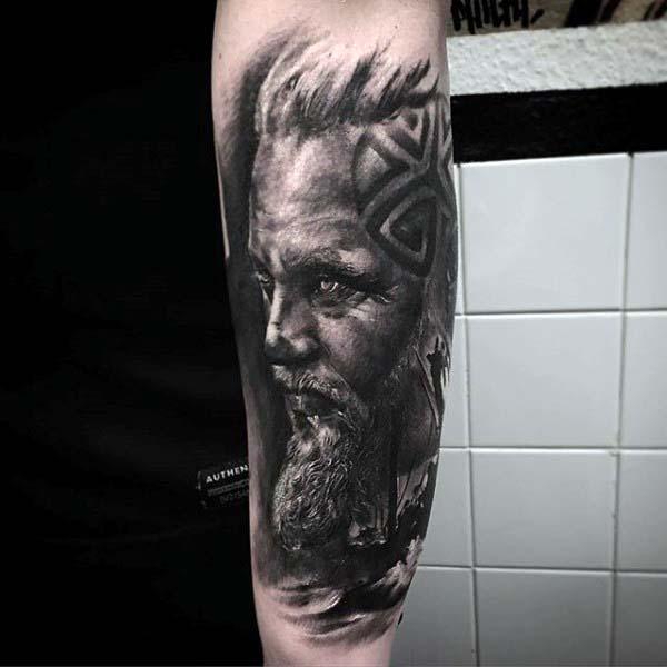 Norse Mens Portrait Shaded Nice Forearm Sleeve Tattoo