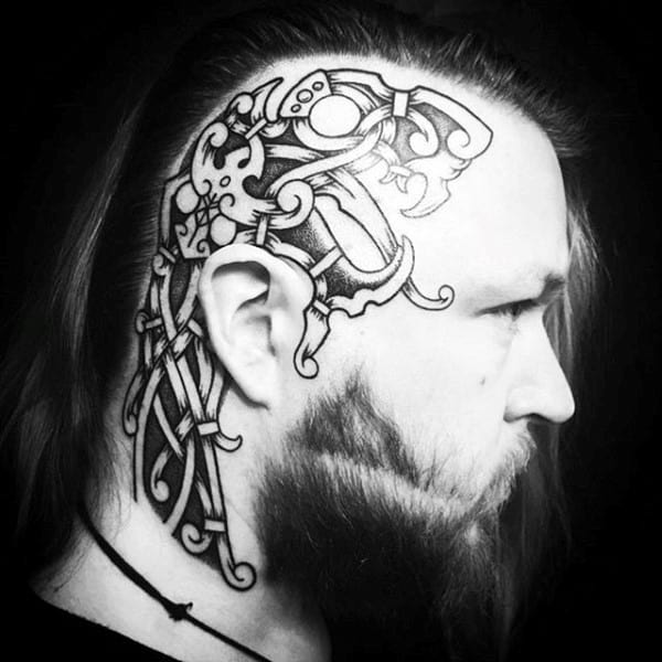 Norse Mens Side Of Head Tattoos