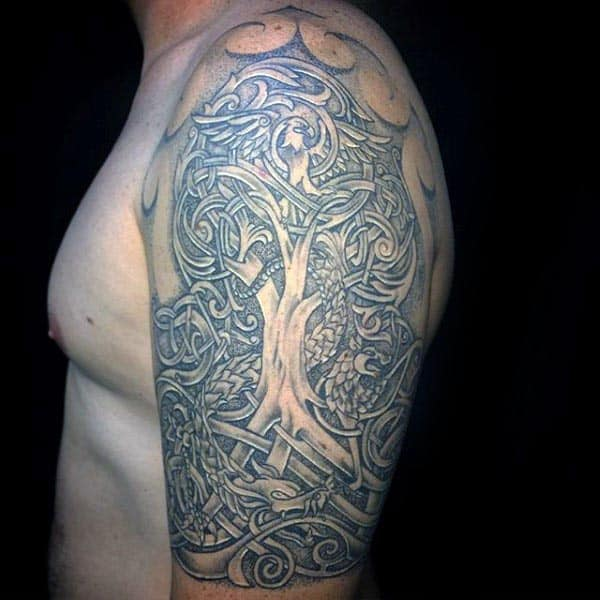 Norse Mens Tree Of Life Half Sleeve Tattoos