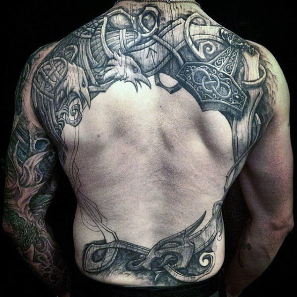 Norse Mens Wood Carving Tattoo On Back