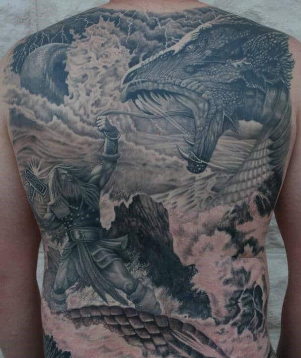 Norse Mythology God Thor With Mjolnir And Dragon Guys Full Back Tattoos