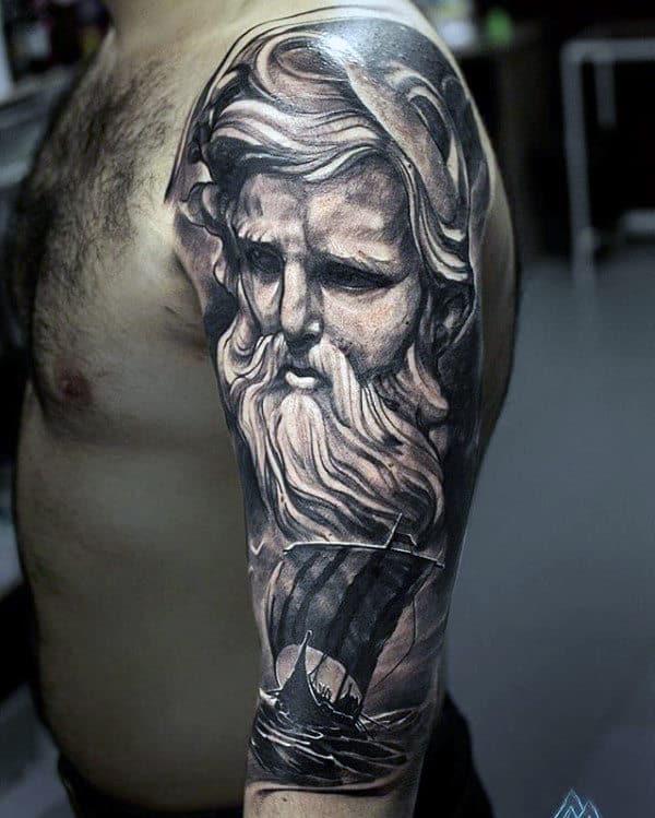 Norse Mythology Mens Odin Half Sleeve Tattoos