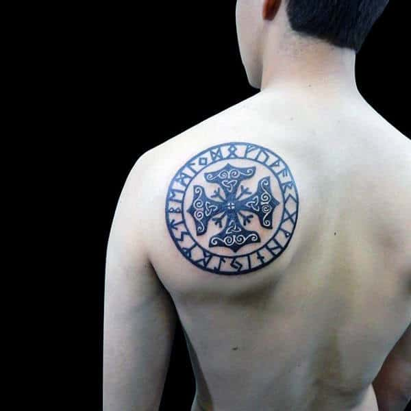 Norse Rune Circle Back Tattoo On Man