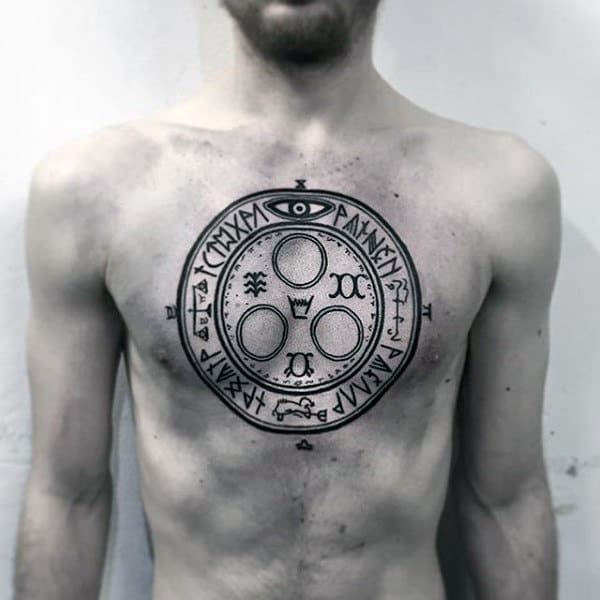 Norse Rune Insane Mens Symbol Chest Tattoos