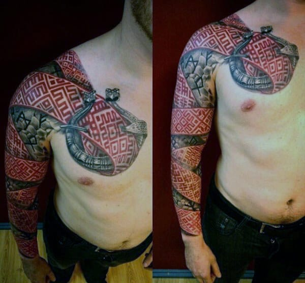Norse Rune Red Ink Full Sleeve Tattoo For Men