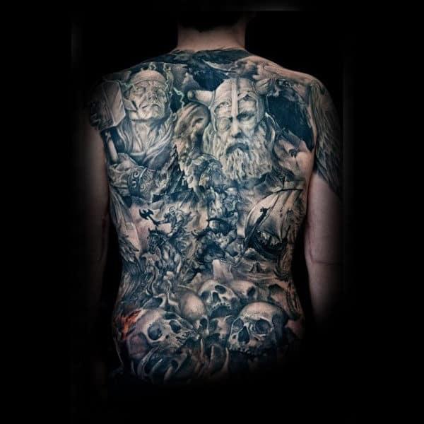 Norse Skulls With Odin On Battlefield Mens Full Back Tattoo Design Ideas