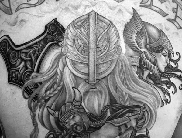 Norse Viking Back Male Valkyrie Tattoo Design Inspiration