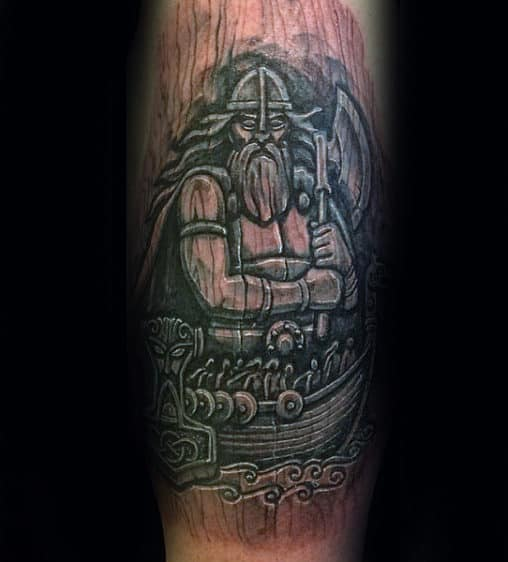 Norse Warrior On Sailing Ship Wood Carving Mens Arm Tattoos