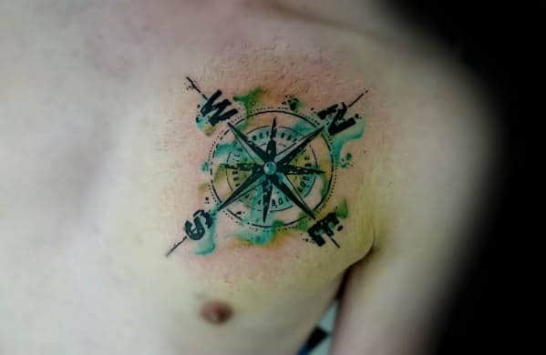 North East West And South Guys Watercolor Compass Chest Tattoo