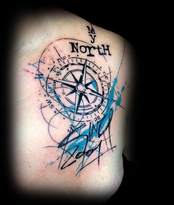 North Watercolor Compass Blue Ink Mens Back Tattoo