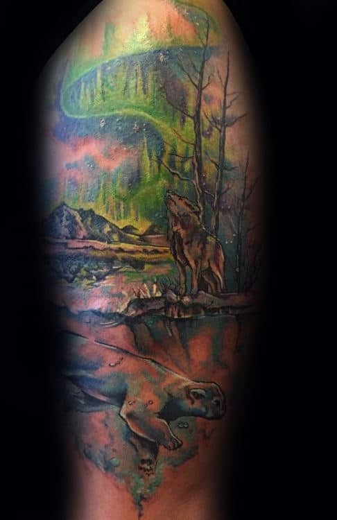 Northern Lights Male Polar Bear Watercolor Arm Tattoo Designs