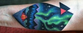 50 Northern Lights Tattoo Designs For Men – Aurora Borealis Ink Ideas
