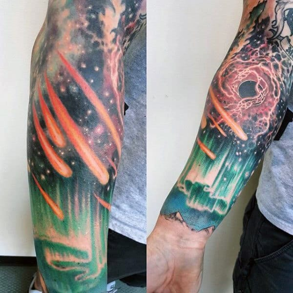 Northern Lights With Meteor In Sky Mens Sleeve Tattoos