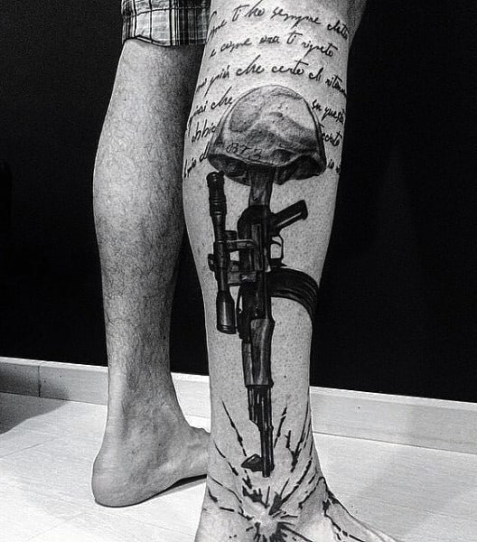 Norwegian Military Tattoo For Guys On Legs