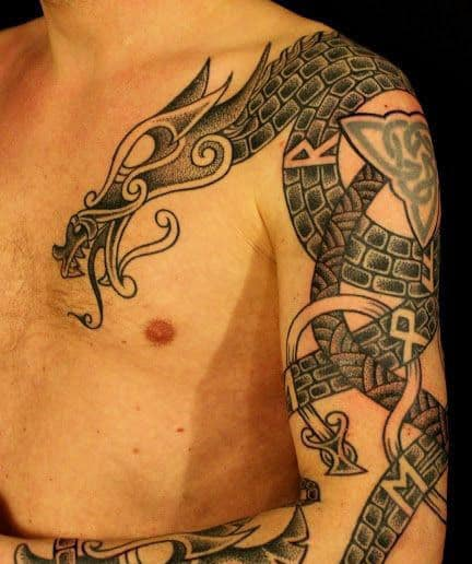 Dragon Norwegian Viking Tattoos For Males