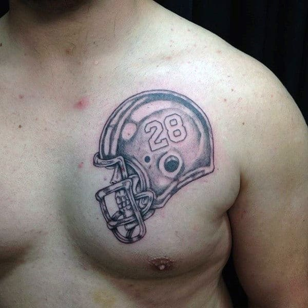 Number 28 Mens Football Helmet Chest Tattoo