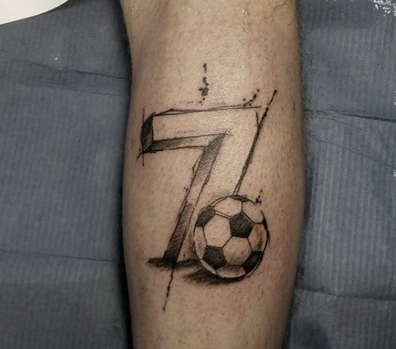 Number Seven Soccer Mens Leg Tattoos