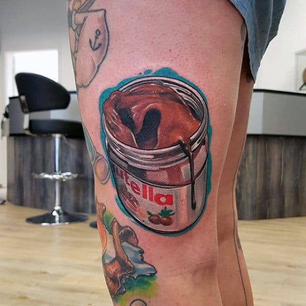 Nutella Jar Food Tattoos Male Thighs
