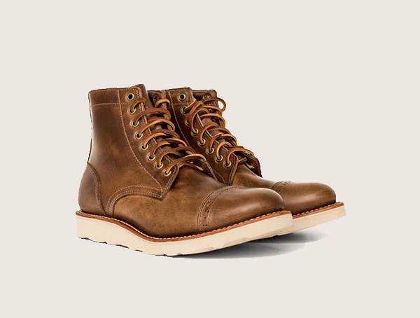 Oak Street Bootmakers Natural Vibram Sole Cap Toe Trench Made In America Work Boots For Men