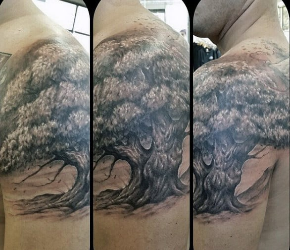 Oak Tree On A Windy Day Tattoos On Arms For Men