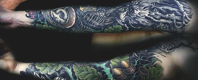 50 oak tree tattoo designs for men leaves and acorns. Black Bedroom Furniture Sets. Home Design Ideas