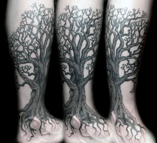 Oak Tree Tattoo With Multiple Twigs Tattoo On Calves For Men