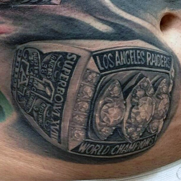 Oakland Raiders World Championship Ring Mens Stomach Tattoos