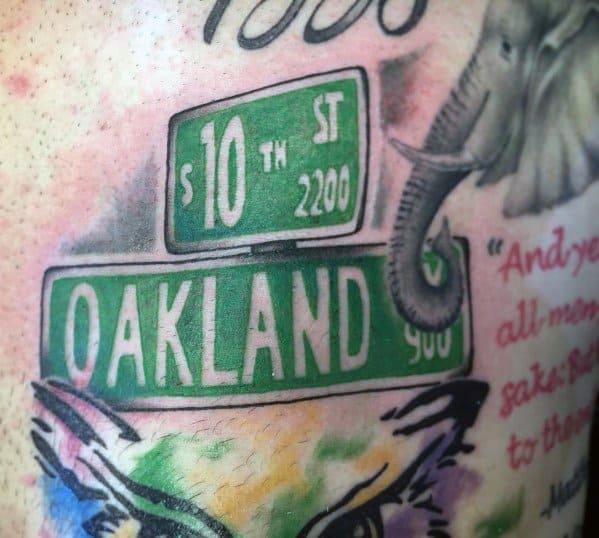 Oakland Street Sign Tattoo Inspiration For Men