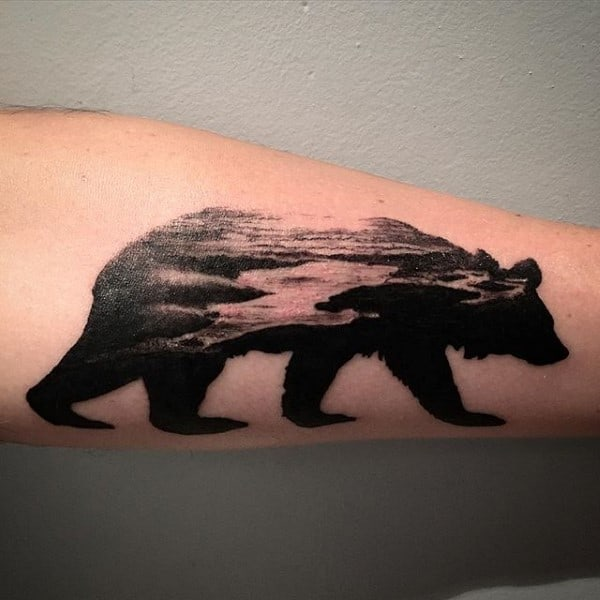Ocean Beach Black Ink California Bear Male Arm Tattoo