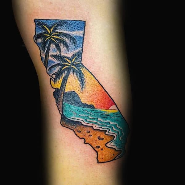 Ocean Beach Guys Arm California State Tattoo