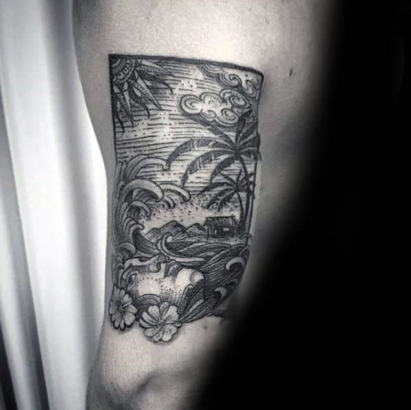 Ocean Beach Landscape Guys Woodcut Back Of Arm Tattoo