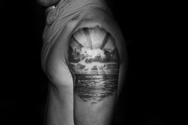 Ocean Beach Rising Sun Mens Quarter Sleeve Tattoo