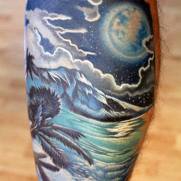 Ocean Beach With Glowing Moon Night Sky Guys Leg Calf Tattoos