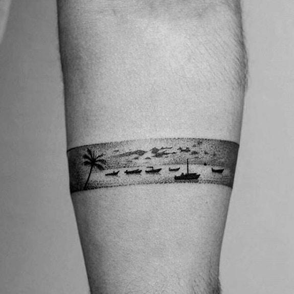 Ocean Landscape Badass Mens Small Forearm Band Tattoo Designs